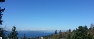 A scene from our walk, the Olympic Mountains, Puget Sound, and islands.