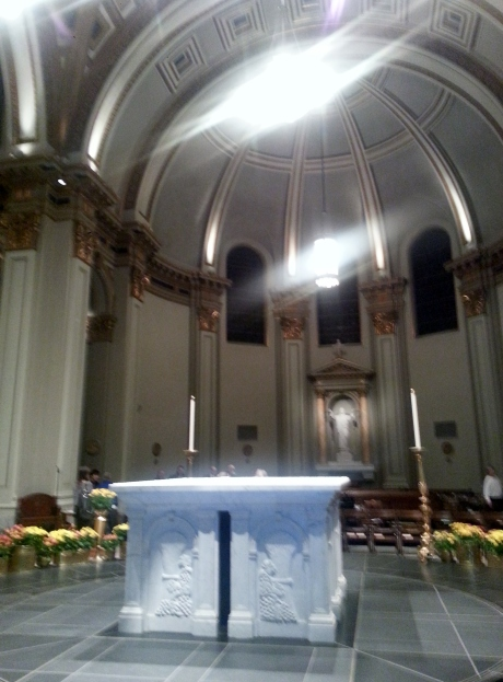 View of the altar. St. James's original design was more traditional. The altar was moved to the center of the church several years ago.