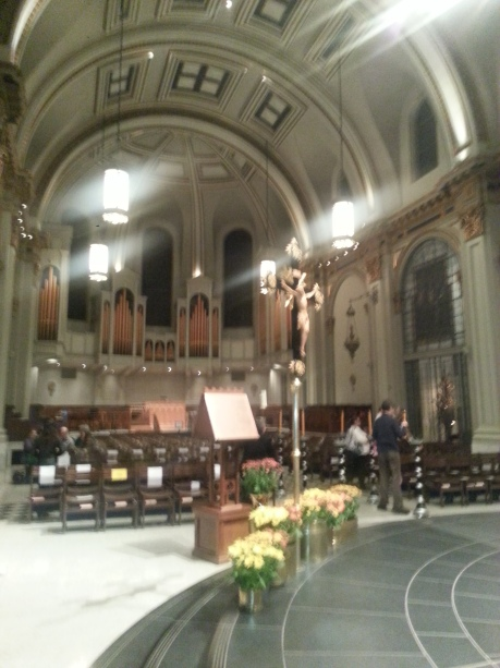 A view of one of the two pipe organs.