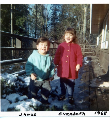 James must have been about 1 1/2 years old to my three years. It looks like we were having much fun in a rare Seattle-area snow.