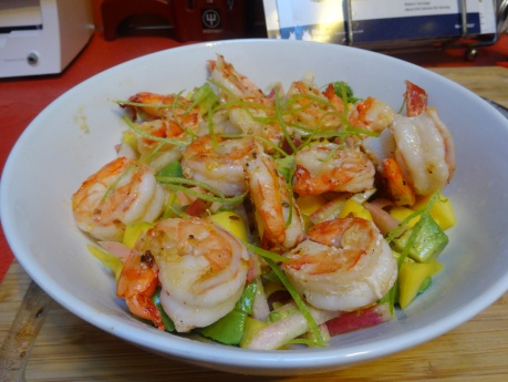 Shrimp and mango with lime, avocado, radish, and jicama.