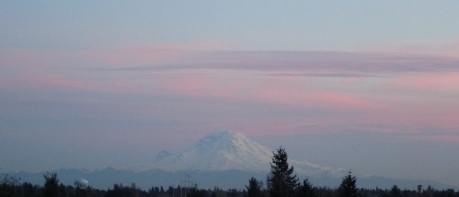 Mt. Rainier, to the southeast catching a bit of last night's sunset colors.