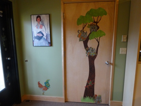 The chicken and tree decals were inspired by the feeling of boredom I felt when I sat in the chairs across from the door of my office.