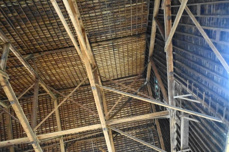 Old warehouse in La Conner. The exterior was dilapidated. What a surprise to see this beautiful ceiling. Also, we probably should not have been in this building.